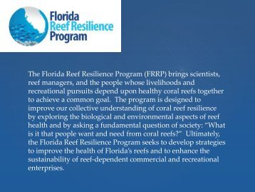 1. FRRP Introduction - The Florida Reef Resilience Program