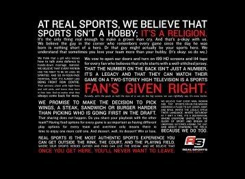 Main Menu - Real Sports