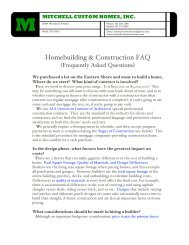 Homebuilding & Construction FAQ - Mitchell Custom Homes Inc