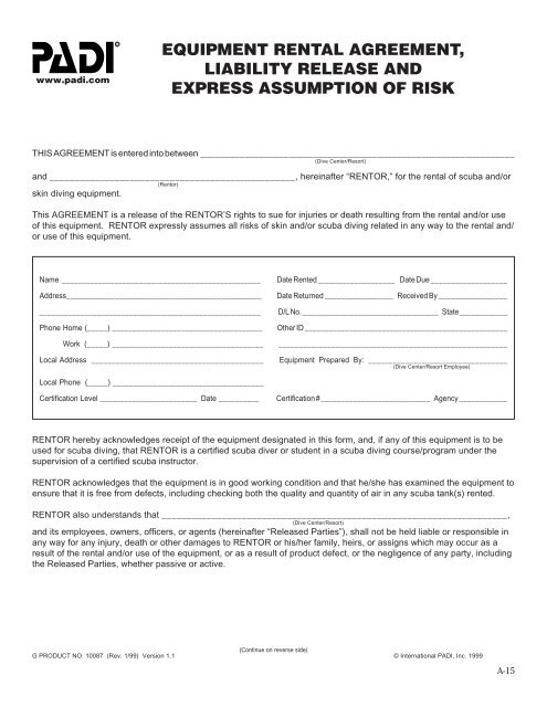 Equipment Rental Agreement Liability Release And Express