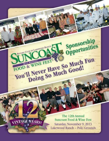 Day of Event Opportunities - Suncoast Food & Wine Festival