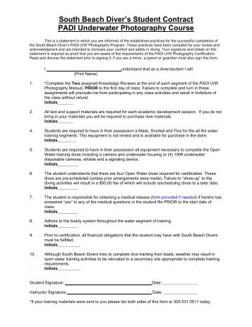 Underwater Photography Student Contract South Beach Divers