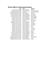 Winter 2009-10 Webcasting Schedule