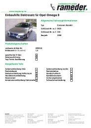 Einbauhilfe Elektrosatz für Opel Omega B