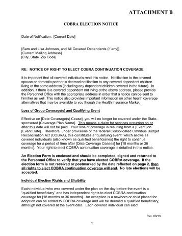 COBRA Rights Notification Letter Template