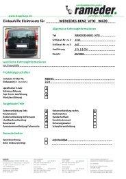 Einbauhilfe Elektrosatz für MERCEDES-BENZ VITO W639
