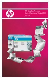 HP Supplies Products Instant Reference Guide ... - HP IPG Products
