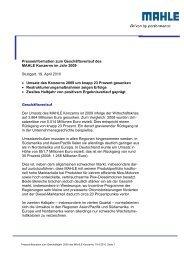 Presseinformation zum Geschäftsverlauf des MAHLE ... - mahle.com