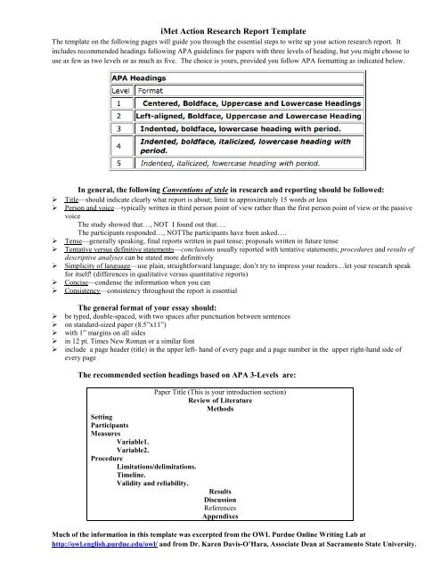 IMet Action Research Report Template