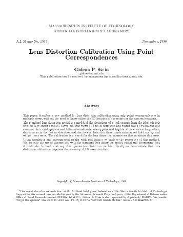 Lens Distortion Calibration Using Point Correspondences