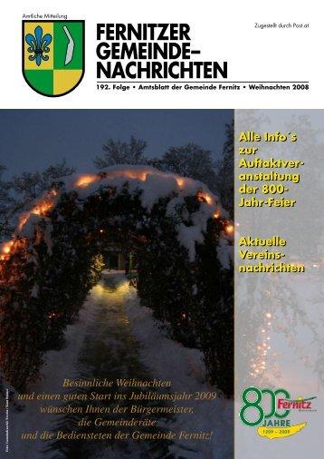 Fernitzer Gemeinde Nachrichten WEIHNACHTEN 2008 (5 03 MB