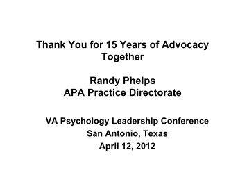 DeLeon Award VA 15 2012.pdf - VA Psychology Leadership ...