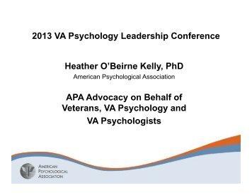 VAPL Plenary Heather Kelly 2013.pdf - VA Psychology Leadership ...