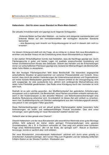 Hattersheim – Zeit für einen neuen Standort im Rhein-Main-Gebiet ...