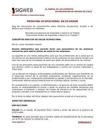 La Medicina Ocupacional en Ecuador - Sigweb