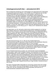 Arbeitsgemeinschaft Alter – Jahresbericht 2010 - bei der AG Alter