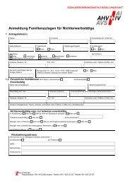 Anmeldung Familienzulagen für Nichterwerbstätige - SVA-BL
