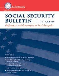 Social Security Bulletin, Vol. 70, No. 3, 2010