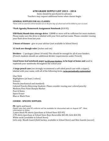 6TH GRADE SUPPLY LIST 2013 – 2014 - The Park School