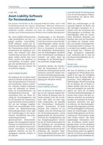 Asset-Liability-Software für Pensionskassen - Alexandria