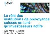 Le rôle des institutions de prévoyance suisses en tant qu ... - Inrate