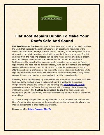 Flat Roof Repairs Dublin To Make Your Roofs Safe And Sound