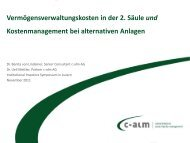 Kostenmanagement bei alternativen Anlagen - c-alm