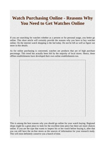 Watch Purchasing Online - Reasons Why You Need to Get Watches Online