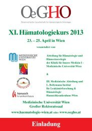 XI. Hämatologiekurs 2013 23. – 25. April in Wien - OeGHO