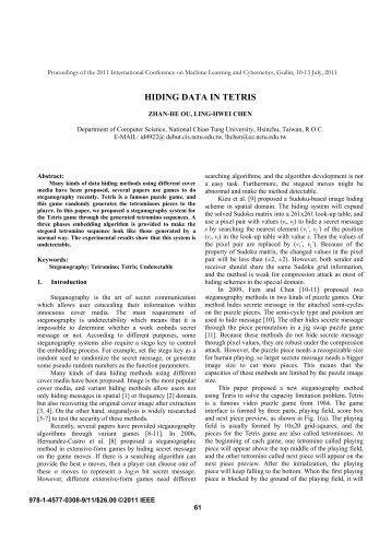HIDING DATA IN TETRIS