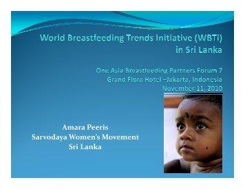 Amara Peeris Sarvodaya Women's Movement Sri Lanka - IBFAN ASIA