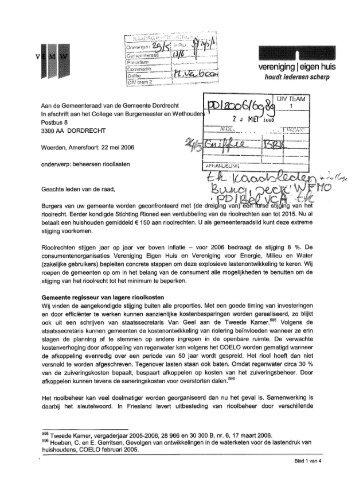 Brief Vereniging Eigen Huis aan gemeenteraad Dordrecht met ...