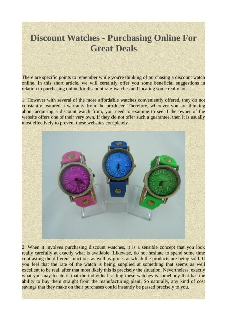 d2fecac620e71 Discount Watches - Purchasing Online For Great Deals