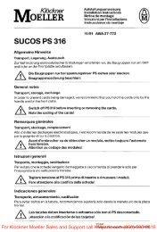 SUCOS PS 316 Allgemeine Hinweise - Klockner Moeller Parts