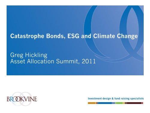 Asset Allocation Summit Cat Bonds ESG and Climate