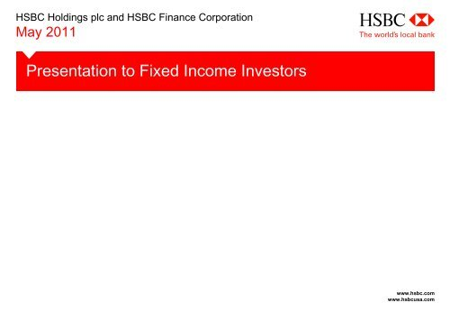 Presentation to Fixed Income Investors - HSBC
