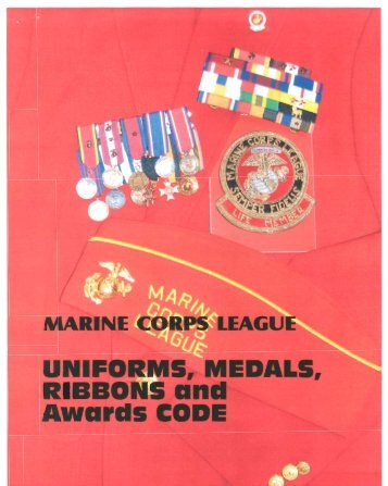 Marine Corps League Uniforms, Medals, Ribbons and Awards Code