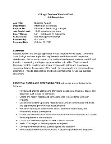 Analyst Job Description Application Support Analysts Provide