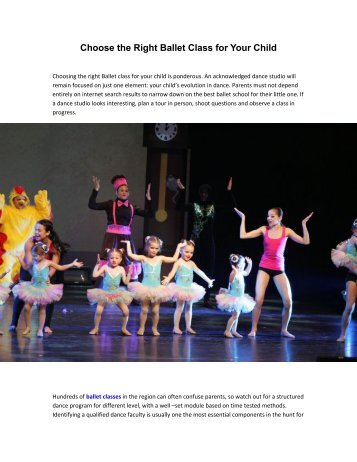 Choose the Right Ballet Class for Your Child