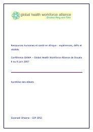 Ressources humaines et santé en Afrique : expériences ... - Ecolabs