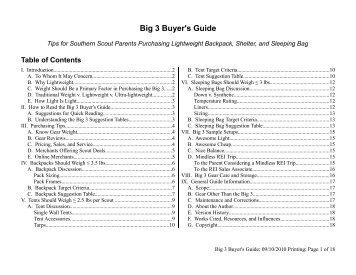 II. How to Read the Big 3 Buyer's Guide - Troop 394