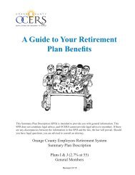 A Guide to Your Retirement Plan Benefits - OCERS
