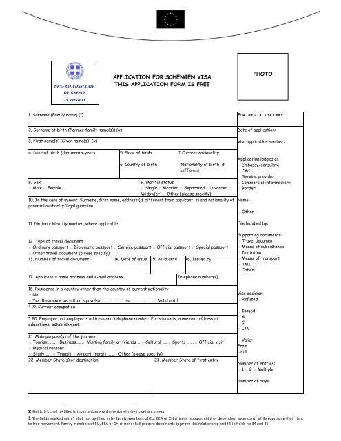 Application Visa 1 Greek Embassy