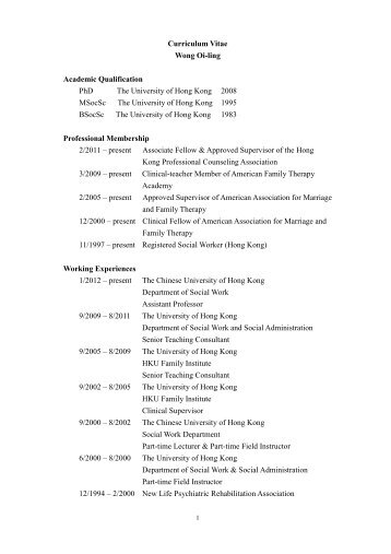 Curriculum Vitae - Department of Social Work - The Chinese ...