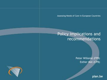 Policy implications and recommendations - Assessing Needs of ...