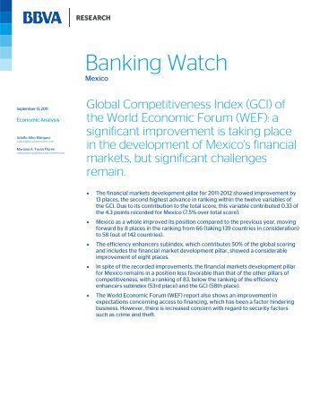 Global Competitiveness Index (GCI) of the World ... - BBVA Research
