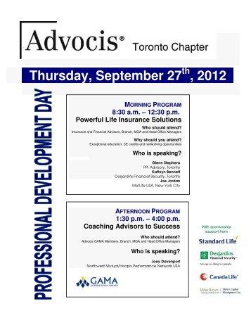 Thursday, September 27 , 2012.. - Advocis