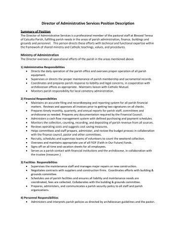 Position description customer service administration officer - Job description for administrative officer ...