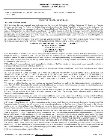 class action claim form