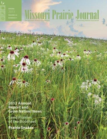 Spring 2013: Volume 34, Number 1 - Missouri Prairie Foundation